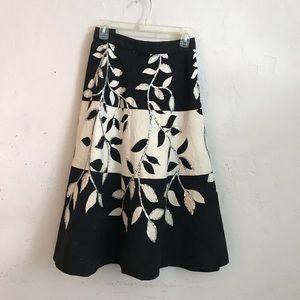 Black & White Floral Sequin Skirt, cotton B&W plus